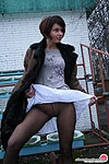Hottie can't resist her desire to show upskirt with her black pantyhose on