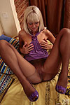 Frisky babe taking advantage of her skilful hands in her control top tights