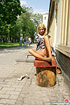 Cutie in tan pantyhose getting the most from flashing upskirt on the bench