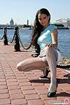 Luscious gal in glossy grey pantyhose flashing her nylon beaver on the quay