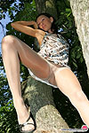 Cute babe getting to playful mood climbing in her sheer tights on the tree