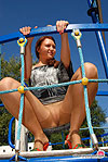 Hot gal getting to outdoor mischief with pussy close-ups through sheer hose