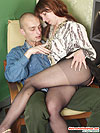 Horny milf in black hose getting her nyloned muff fondled and screwed hard