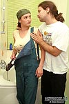 Pantyhosed female worker getting frenzied muffdiving right in the bathroom