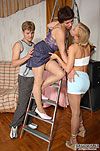 Heated nylon addicts getting to steaming hot pantyhose sex in threesome