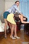 Raven-head in flying skirt letting the guy's cock feel her smooth pantyhose