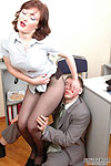 Nylon addicted boss get horny finding his secretary's soft black pantyhose