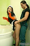 Pantyhosed maid washing bath before getting down and dirty with hot dude