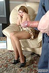 Upskirt babe spreading her legs in shiny hose seducing a repairman into sex