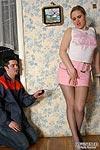 Chubby upskirt babe seducing a horny service man into steamy pantyhose sex