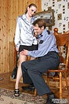 Wicked office girl seducing security with her upskirt look and smooth hose