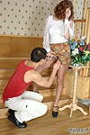 Oversexed chick teasing a chap with her upskirt look and shiny pantyhose