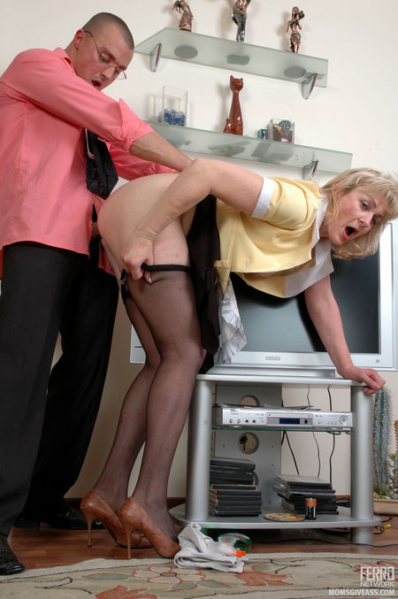 Bend over mature anal