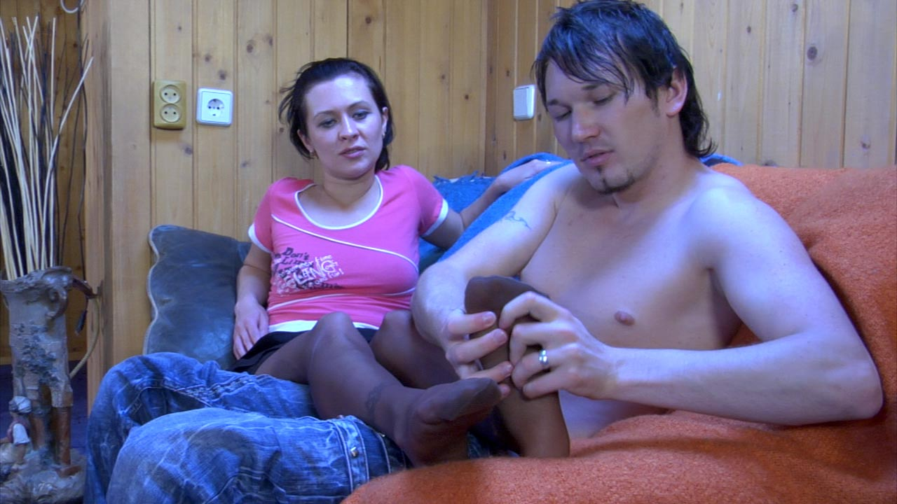 Mima and Rolf nylon footfuck movie