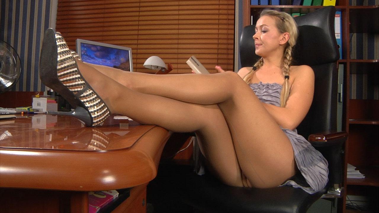 Denis showing her nylon feet