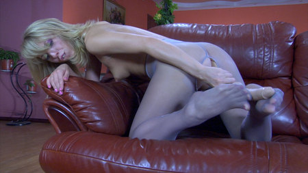 Felicia C playing with her feet