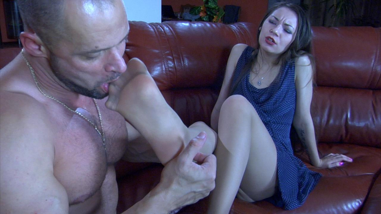 Crystal and Claud kinky nylon footsex