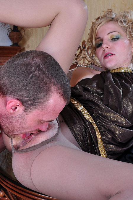The drunk blonde MILF can't resist a thick meaty member in her tight nylon ...