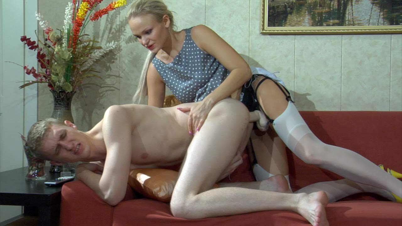 Dolly and Connor frisky strapon action